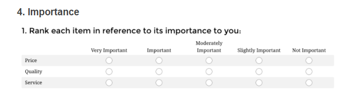 Likert-scale-option-importance-response